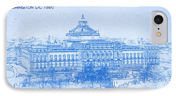 Library Of Congress Washington Dc 1902 Blueprint IPhone Case by MotionAge Designs