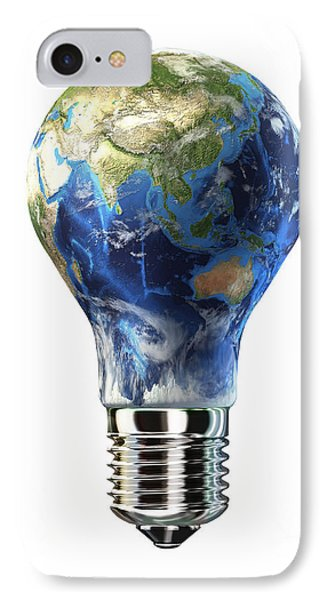 Light Bulb With Planet Earth IPhone Case