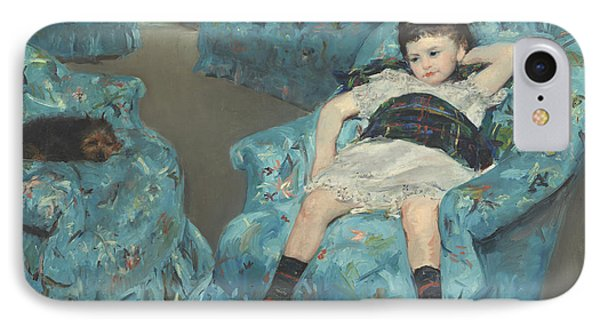 Little Girl In A Blue Armchair Phone Case by Celestial Images