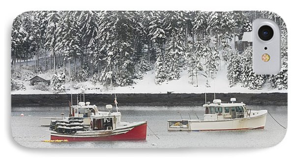 Lobster Boats After Snowstorm In Tenants Harbor Maine IPhone Case