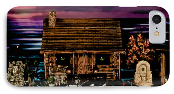 Log Cabin Scene At Sunset With The Old Vintage Classic 1913 Buick Model 25 Phone Case by Leslie Crotty