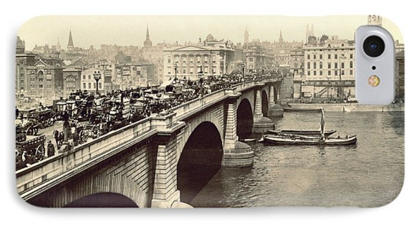 London Bridge Traffic IPhone Case by Underwood Archives
