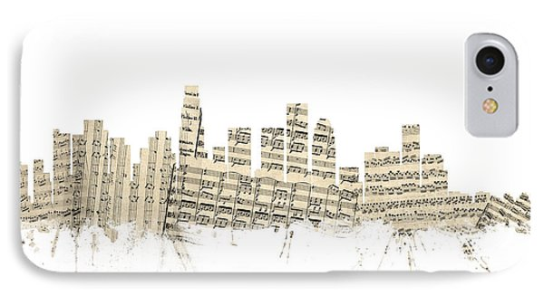 Los Angeles California Skyline Sheet Music Cityscape IPhone 7 Case by Michael Tompsett