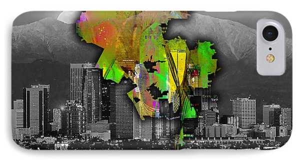 Los Angeles Map And Skyline Watercolor IPhone Case by Marvin Blaine