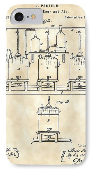 Louis Pasteur Beer Brewing Patent 1873 - Vintage IPhone Case by Stephen Younts