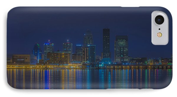 Louisville Kentucky Night Skyline Digital Paint IPhone Case by David Haskett