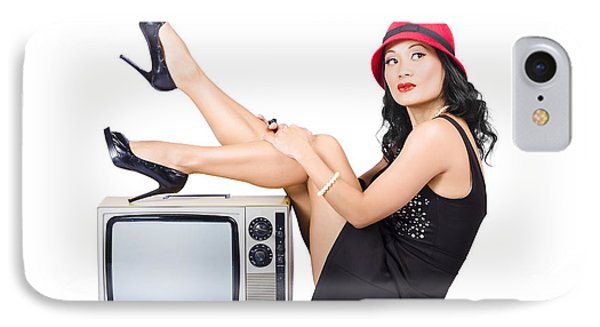 Lovely Asian Pinup Girl Posing On Vintage Tv Set IPhone Case by Jorgo Photography - Wall Art Gallery