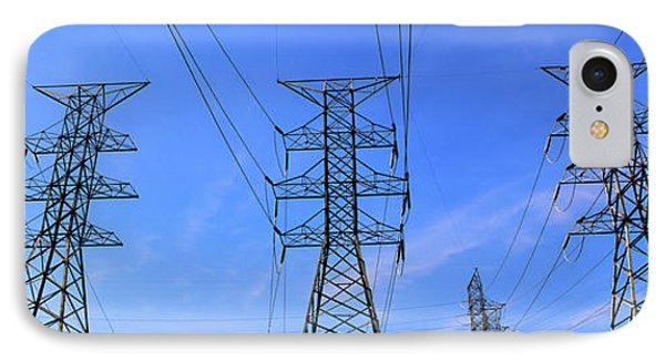 Low Angle View Of Electricity Pylons IPhone Case by Panoramic Images