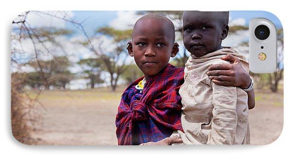 Maasai Children Portrait In Tanzania IPhone Case by Michal Bednarek