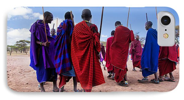 Maasai Men In Their Ritual Dance In Their Village In Tanzania IPhone Case by Michal Bednarek