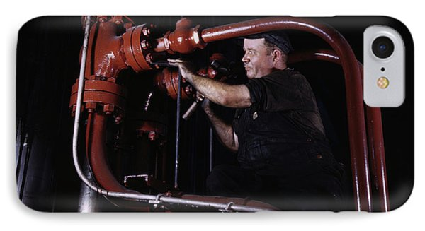 Maintenance Mechanic Checking Pipes IPhone Case by Stocktrek Images