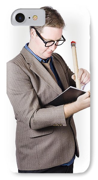 Male Business Nerd Writing Strategy In Note Book IPhone Case by Jorgo Photography - Wall Art Gallery