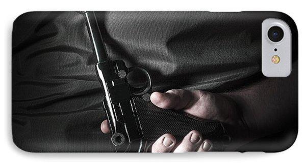 Male Hand Hiding Vintage Luger Pistol Behind Back IPhone Case