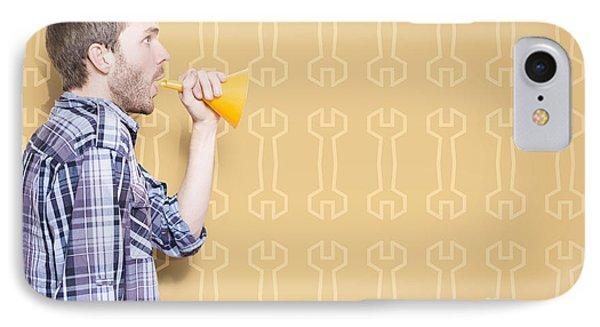 Male Handyman Or Motor Mechanic Talking Trade Tips IPhone Case by Jorgo Photography - Wall Art Gallery