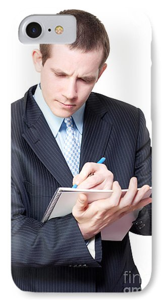 Male Personal Assistant Setting Appointments IPhone Case by Jorgo Photography - Wall Art Gallery