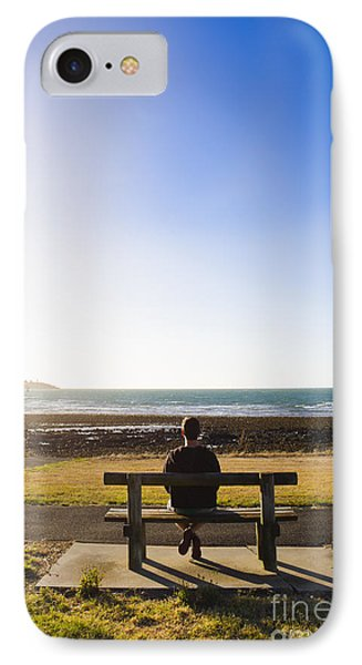 Male Tourist Enjoying Ocean Landscape Sunset IPhone Case by Jorgo Photography - Wall Art Gallery