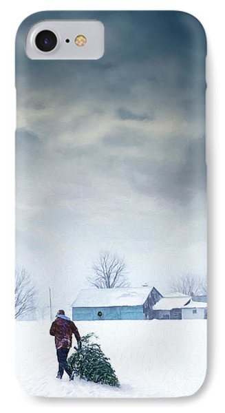 Man Carrying Tree For Christmas/digital Painting IPhone Case by Sandra Cunningham