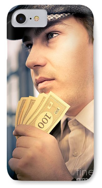 Man Holding Money Making A Financial Decision IPhone Case