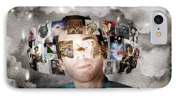 Man Streaming Media With Cloud Server Informatics IPhone Case by Jorgo Photography - Wall Art Gallery