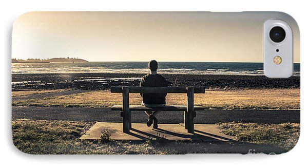 Man Watching Australian Sunset On Park Bench IPhone Case by Jorgo Photography - Wall Art Gallery