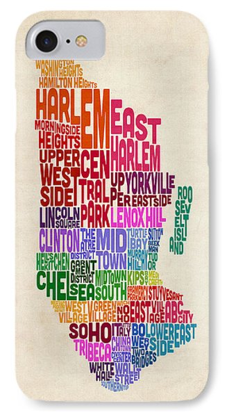 Manhattan New York Typography Text Map IPhone Case by Michael Tompsett