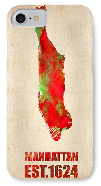 Manhattan Watercolor Map Phone Case by Naxart Studio