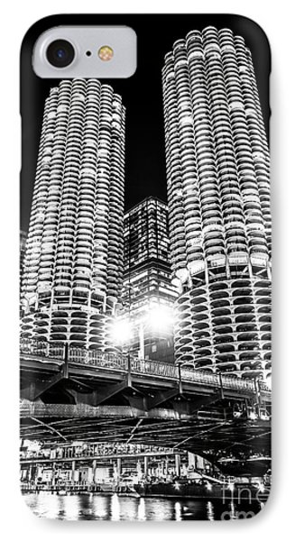 Marina City Towers At Night Black And White Picture IPhone Case by Paul Velgos