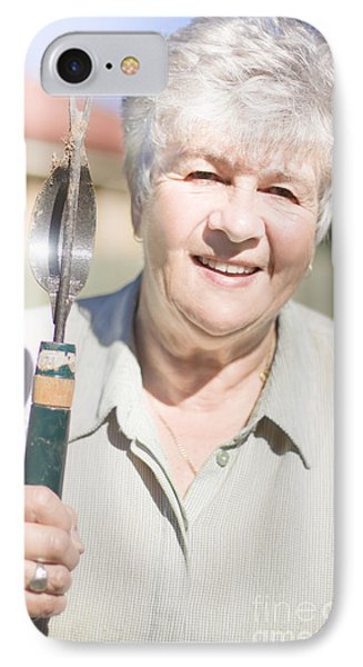 Mature Woman With Garden Tool IPhone Case by Jorgo Photography - Wall Art Gallery