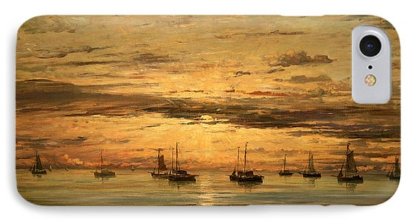 Mesdag's Sunset At Scheveningen -- A Fleet Of Shipping Vessels At Anchor IPhone Case by Cora Wandel