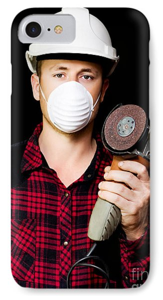Metal Fabrication Workman With Rotary Disc Sander IPhone Case by Jorgo Photography - Wall Art Gallery