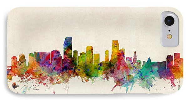 Miami Florida Skyline IPhone 7 Case by Michael Tompsett