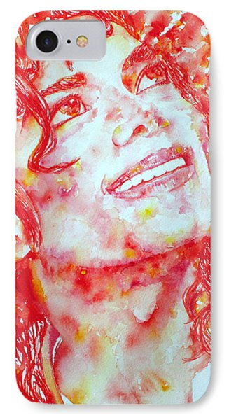 Michael Jackson - Watercolor Portrait.2 IPhone Case by Fabrizio Cassetta