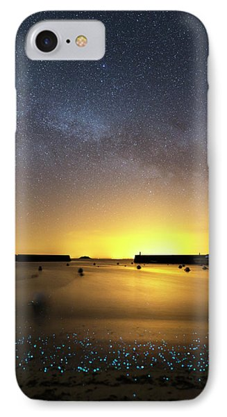 Milky Way Over Bioluminescent Plankton IPhone Case by Laurent Laveder