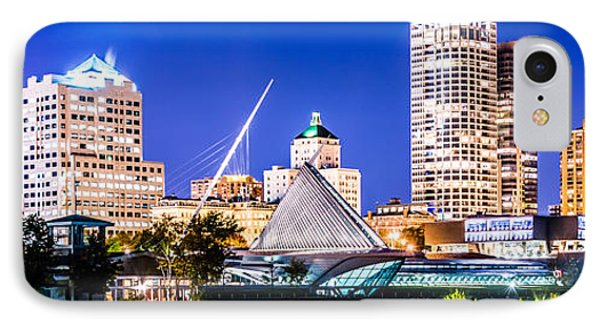 Milwaukee Skyline At Night Photo In Blue IPhone Case