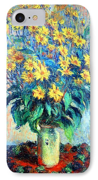 IPhone Case featuring the photograph Monet's Jerusalem  Artichoke Flowers by Cora Wandel