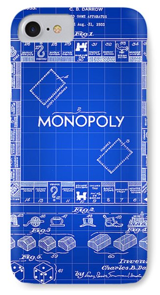 Monopoly Patent 1935 - Blue IPhone Case by Stephen Younts