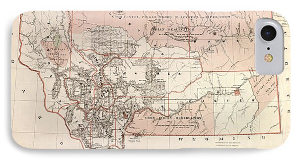 Montana Vintage Antique Map IPhone Case by World Art Prints And Designs