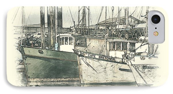 IPhone Case featuring the digital art Moored Fishing Boats by Richard Farrington