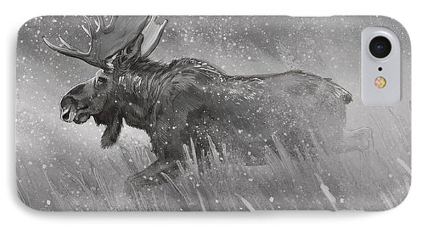 IPhone Case featuring the digital art Moose Sketch by Aaron Blaise