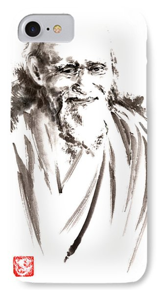 Morihei Ueshiba Sensei Aikido Martial Arts Japan Japanese Master Sum-e Portrait Founder IPhone Case by Mariusz Szmerdt