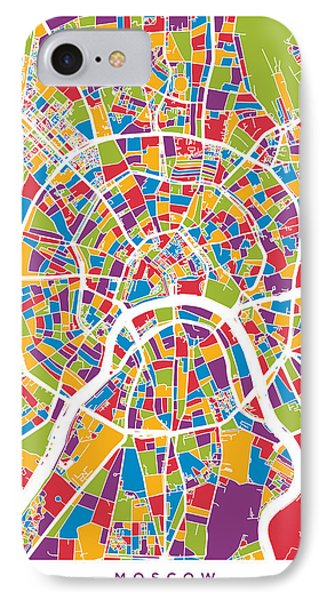 Moscow City Street Map IPhone Case by Michael Tompsett