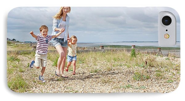 Mother And Children On Beach IPhone Case by Ian Hooton
