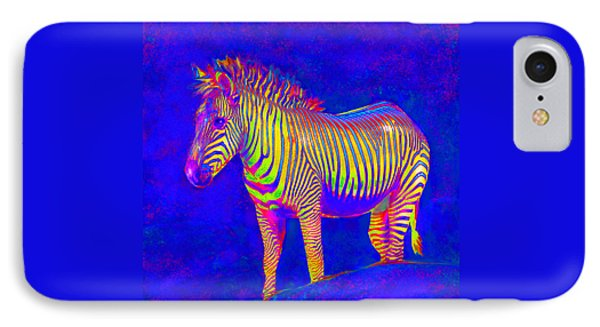 IPhone Case featuring the digital art Neon Zebra 2 by Jane Schnetlage