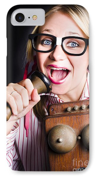 Nerdy Pr Business Person Making Announcement IPhone Case by Jorgo Photography - Wall Art Gallery