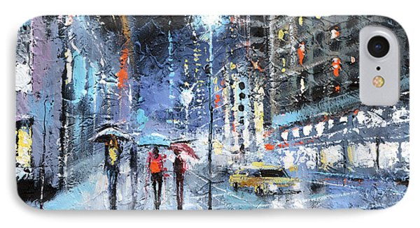 IPhone Case featuring the painting Night City by Dmitry Spiros