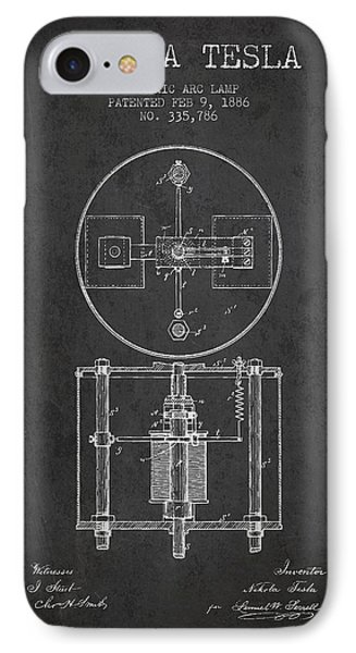 Nikola Tesla Patent Drawing From 1886 - Dark IPhone Case by Aged Pixel