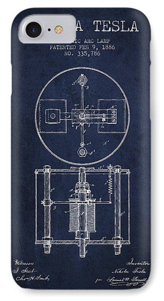 Nikola Tesla Patent Drawing From 1886 - Navy Blue IPhone Case by Aged Pixel