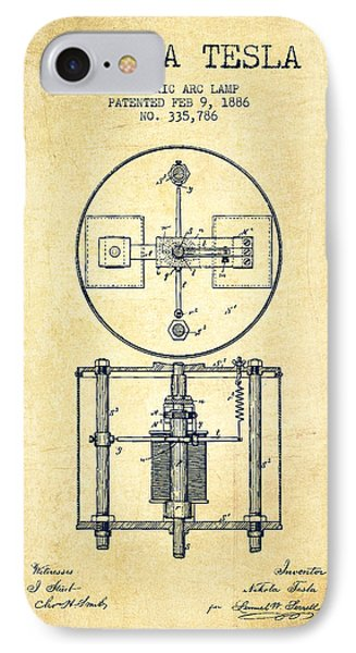 Nikola Tesla Patent Drawing From 1886 - Vintage IPhone Case by Aged Pixel