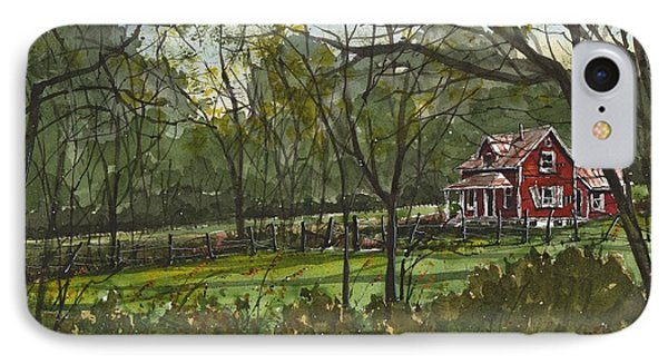IPhone Case featuring the painting North Carolina Red House by Tim Oliver