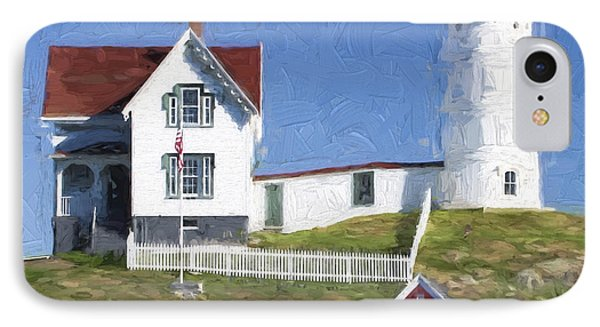 Nubble Lighthouse Maine Painterly Effect IPhone Case by Carol Leigh
